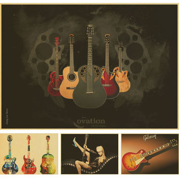 Vintage Famous Guitar World retro Poster Bar Home Decor Painting Retro Kraft Paper Wallpaper