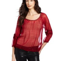 Lucky Brand Women's Tribal Lace Estelle Top, Pink Multi, Large