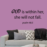 Wall Decals God Is Within Her She Will Not Fall Psalm Verses Quote Home Vinyl Decal Sticker Kids Nursery Baby Room Decor kk701