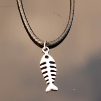 N784 Fish Bone Pendant Colleares Rope Chain Bijoux Clavicle Punk Fashion Jewelry Necklaces