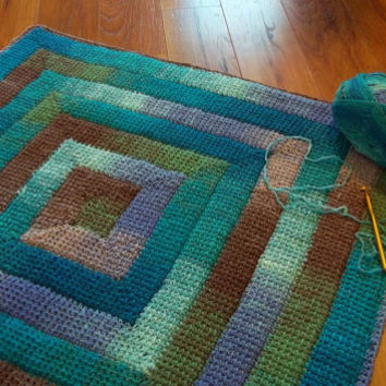 Simply Spiraled Crochet Square or Rectangle pdf pattern.  Make a dishcloth, afghan, baby blanket, rug as you wish.