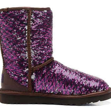 ESBON UGG 1002978 Flipped Over Sparkles Women Fashion Casual Wool Winter Snow Boots Purple