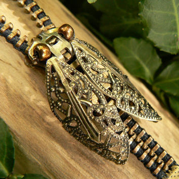 Filigree Steampunk Cicada Zipper Bracelet