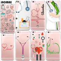 Cute Cartoon Medicine Doctor Case For iPhone 6 6S 6 Plus 6s Plus 5 5S SE 7 7 Plus Transparent Clear Soft Silicone Phone Cover