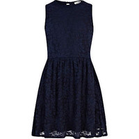 Girls navy lace skater dress