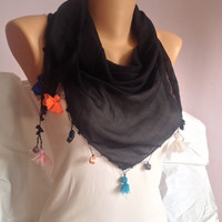 Black Tassel Scarf - Triangle Beaded Scarf - Fashion Scarf