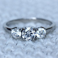 Titanium and Natural white sapphire Trilogy ring - engagement ring - wedding ring