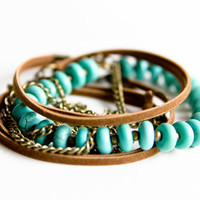 Boho Mixed Media Wrap Bracelet / Long Necklace; Suede Leather; Brass Chain; Turquoise Magnesite Gemstone & Brass Beads; Bohemian Jewelry
