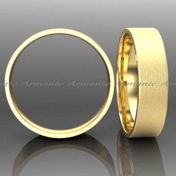 5.00mm Wide Wedding Ring, Solid Gold Wedding Band, 14k Yellow Gold Wedding Band, Hand Made Wedding Band