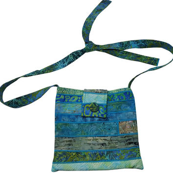 Large Cross Body Hip Purse in Aqua Batik