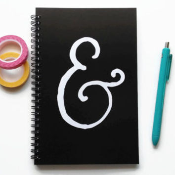 Writing journal, spiral notebook, bullet journal, black and white, sketchbook, blank lined or grid paper - Ampersand