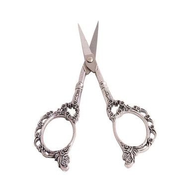 1pc Vintage Stainless Steel Scissors Embroidery Sewing Tools Retro Craft Shears Cross Stitch Scissors Women DIY Craft Accessory