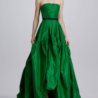 Strapless Silk Gown & Crystal-Buckle Faille Belt