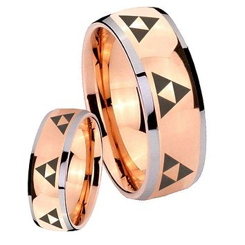 His Hers Rose Gold Dome Multiple Zelda Triforce Two Tone Tungsten Wedding Rings Set