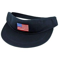 American Flag Needlepoint Golf Visor in Navy by Smathers & Branson