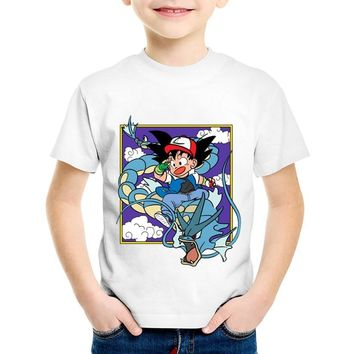 Anime Print Ash And Goku Children T-shirts Kids Dragon Ball Z  Go Funny Summer Tees Boys/Girls Tops Baby Clothing,HKP5071Kawaii Pokemon go  AT_89_9