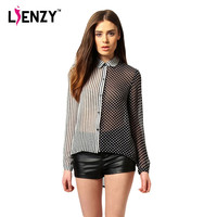 LIENZY 2016 Summer Funny Women Shirts Asymmetrical Black And White Stripe Point Dot Print Polo Neck Mesh Women Blouse Shirt