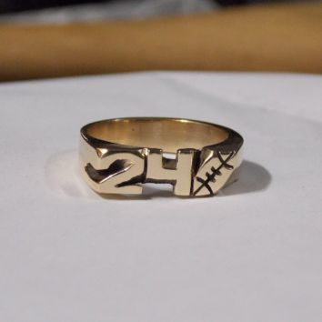 Yellow Brass Ring With Initials Or Numbers With Football Hand Carved Personalized