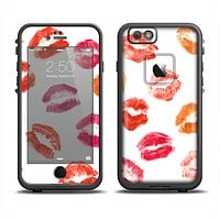 The White with Colored Pucker Lip Prints Apple iPhone 6 LifeProof Fre Case Skin Set