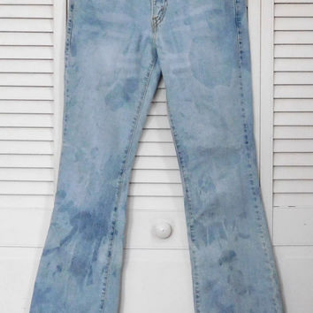 Bleached Levi Jeans Lace Design White Washed Jeans Superlow Cut Hip Hugger Boot Cut Jean Hippie Boho Clothes Festival Beach Size 7 Medium Jr