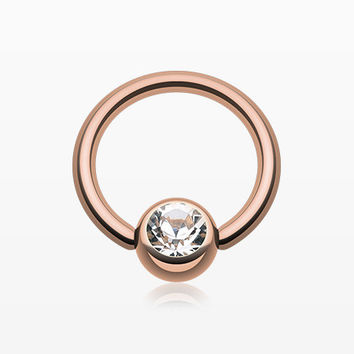 Rose Gold Plated Gem Ball Captive Bead Ring