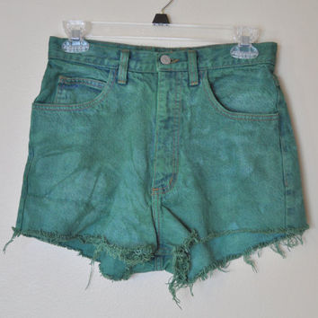 Vintage Guess Jean SHORTS - Hand Dyed Green Urban Style Denim High Rise Vintage Shorts - Misses Size 29