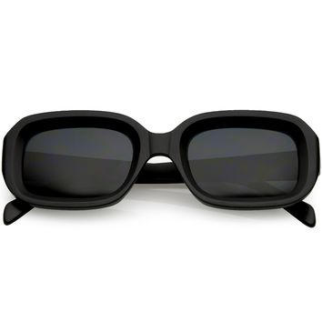 Chunky Matte Finish Rectangle Sunglasses Neutral Colored Lens 50mm