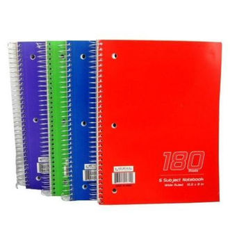 Wire Notebook - 180 sheets - 5 subject - Wide Rule