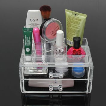 2 Drawer Clear Acrylic Cosmetic Organizer Storage Container Brushes Holder Table
