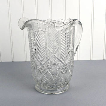 Clear Pressed Glass Pitcher Vintage Water Pitcher Depression Glass Pitcher