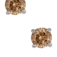 On HauteLook: | Sterling Silver Champagne Diamond Stud Earrings - 0.2 ctw
