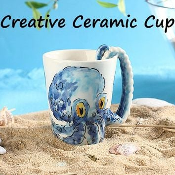 Cute 3D Ceramic Cup Novelty Design Personal Gift Milk Cup Marine Series Animal Coffee Mug Heat-Resistant Creative Mugs Bone 4 St