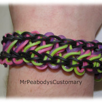 Taffy Twist Rainbow Loom Bracelet - Birthday Gift Ideas Neon Pink Purple Black Green Rubber Bands Jewelry Teenage Style Women's Accessory