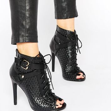 Daisy Street Black Lace Up Peep Toe Shoe Boots