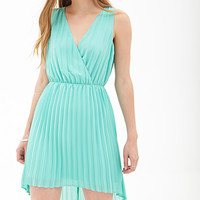FOREVER 21 Pleated Chiffon Dress Aqua