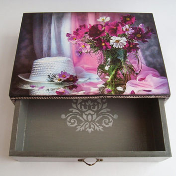 Purple flowers Jewelry Box, Drawer, Garden flowers, A large box, Wooden box Wooden drawer Storage box Rustic decoration Memory case Gift Box