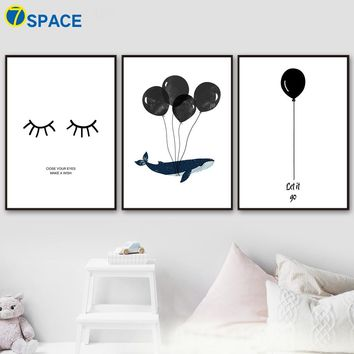 Watercolor Whale Balloon Eyelash Nordic Posters And Prints Wall Art Canvas Painting Animals Wall Pictures Kids Room Home Decor
