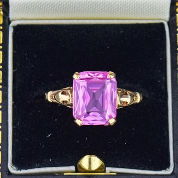 Vintage Gold Pink Sapphire Ring 10K Gold Art Deco 1930s