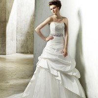 A Line Scoop Floor Length Gown with Taffeta and Tulle Noreen : $233.00 at VikiDress.com.