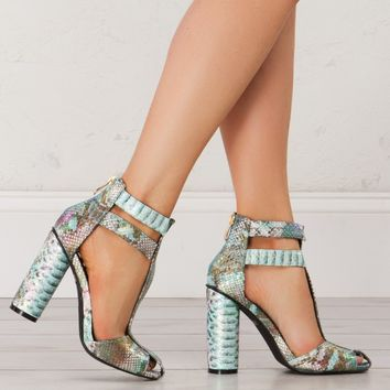 Strappy Sandals in Snake and Black