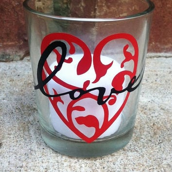 Candle Holder Red Heart Love