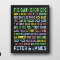 """Brothers Wall Art - Personalized Printable, 8x10"""", Play Room Decor, Typography Poster, Chalkboard Sign, Brother Boys Room Decal, Nursery Art"""