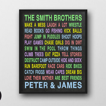 "Brothers Wall Art - Personalized Printable, 8x10"", Play Room Decor, Typography Poster, Chalkboard Sign, Brother Boys Room Decal, Nursery Art"