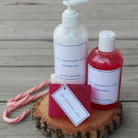Bath and body gift set | holiday gift baskets spa | natural organic shea butter lotion | bath gel and soap