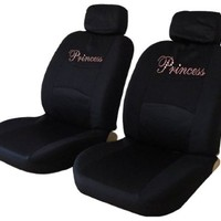 Pink Princess Low Back Seat Covers with Gem Crystals Studded Rhinestones