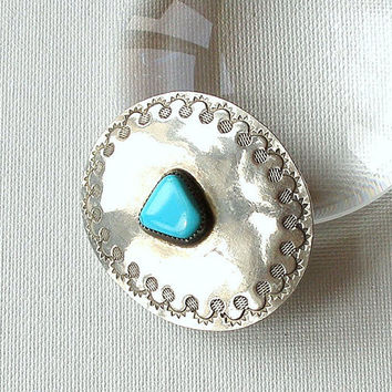 Vintage Belt Buckle Silver & Turquoise Native American Signed WL