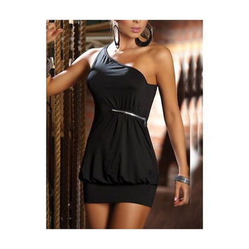 Black Blends Ladies Pure Color Sexy Short Length Slim Dress One Size ALYDY-N037-22Black403-2 (Size: M, Color: Black)