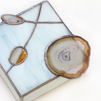 Stained Glass Box with Agate Geodes White by FleetingStillness