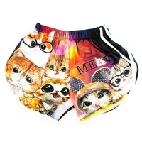 Adorable Kitty Cat Illustration Collage Print Elastic Waist Shorts