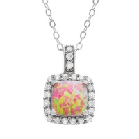 Sparkle Gem Simulated Opal & Cubic Zirconia Sterling Silver Square Halo Pendant Necklace (White)
